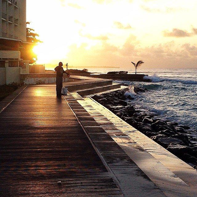 Fishing at sunrise.